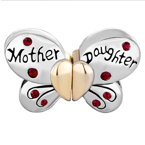 Alloy Material two tone Plating Mother and Daughter Butterly Seperate Bead crystal Charm Fit Pandora Bracelet