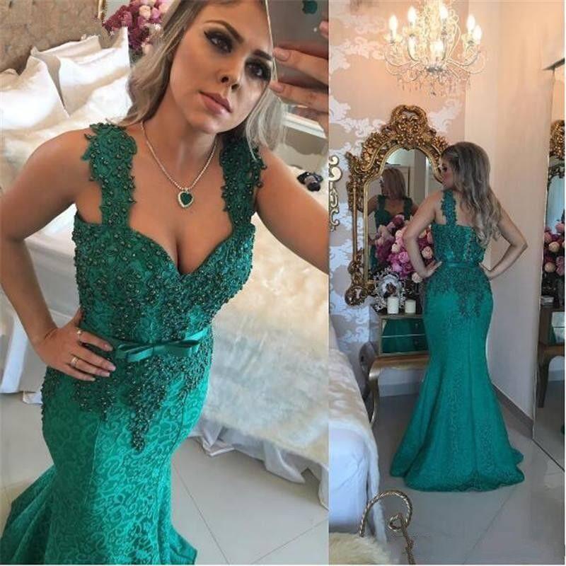 Koyu Yeşil Arapça Dantel Elbiseler Akşam Giymek 2018 Spagetti Aplikler İnci Mermaid Sweep Tren Örgün Balo Parti Özel Durum Törenlerinde