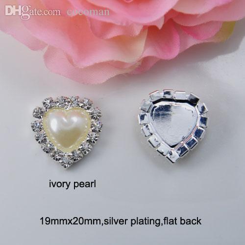 Al por mayor- (J0075) 19mmx20mm corazón perla adorno de cristal, espalda plana, marfil o perla blanca pura