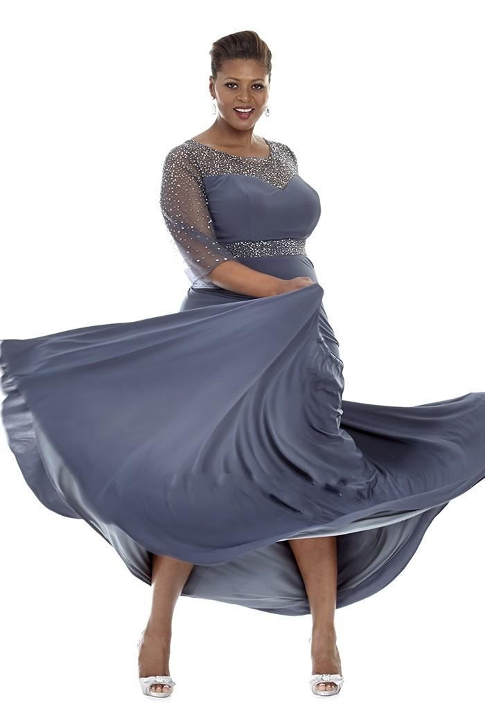 Gray Plus Size Special Occasion Dresses 2019 Sheer Sleeves Evening Gowns  With Beads Mother Of The Bride Dress Party Plus Long Dress Plus Size Cheap  ...