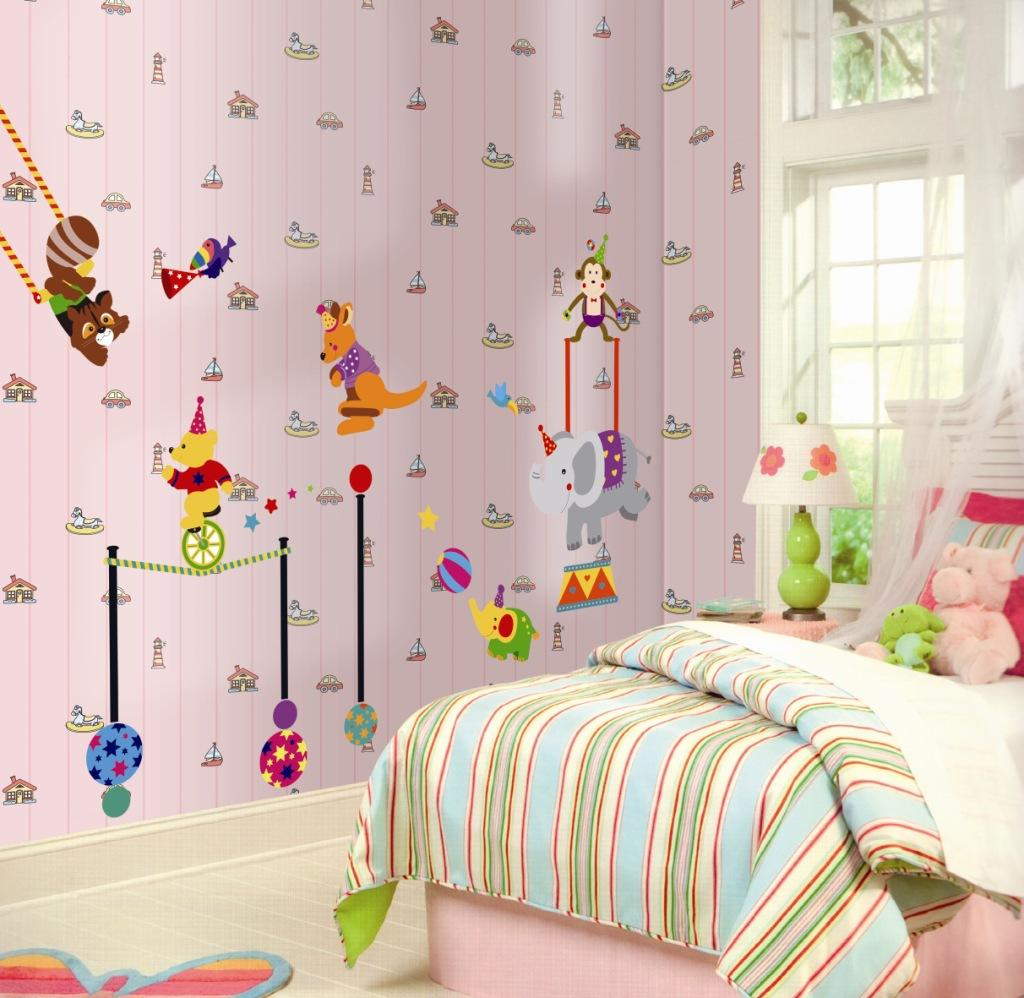 New Arrival DIY Cartoon Animal Circus Wall Art Mural Decor China Traditional Circus Act Decal for Baby Kids Room Decoration Poster