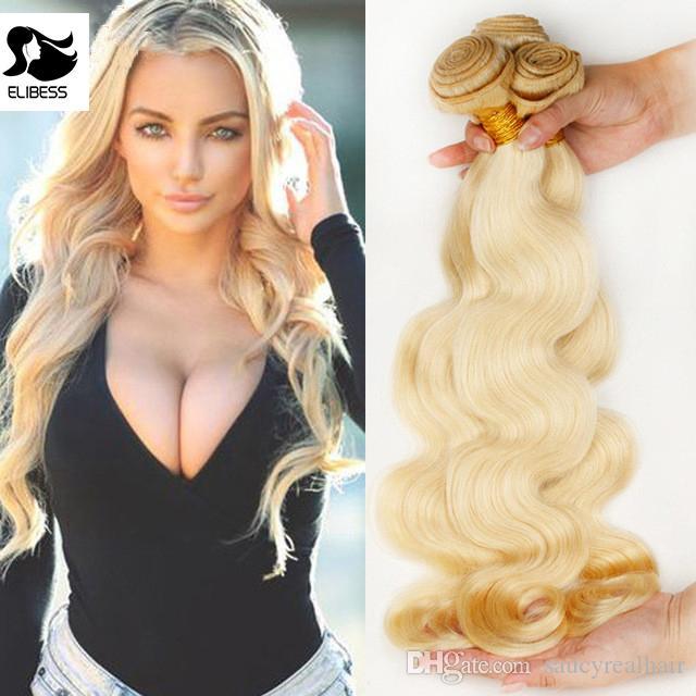 ELIBESS Saç 10A Vücut Dalga Platin Sarışın Bakire Saç Paketler İşlenmemiş İnsan Rus 613 Sarışın renkli Saç Paketi, SERBEST DHL