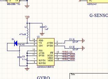 Angle Sensor ADXRS450 Schematic Acceleration Sensor ADXL345 Schematic on