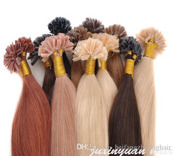 "8A-14"" -24"" prego U Dica Virgin indiano 0,8g Cabelo / s 200s / lot # 1 # 1b # 2 # 4 # 6 # 8 # 27 prego Queratina Hair Extension U Dica cabelo"
