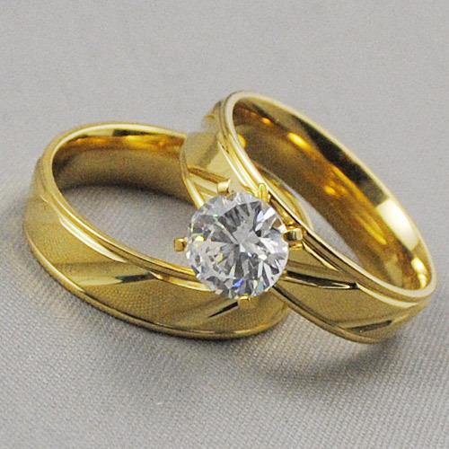 جديد 2015 مطلية بالذهب خاتم مجموعات الرجال النساء الفولاذ الصلب ل مجوهرات الزفاف 2 قطع الشحن مجانا