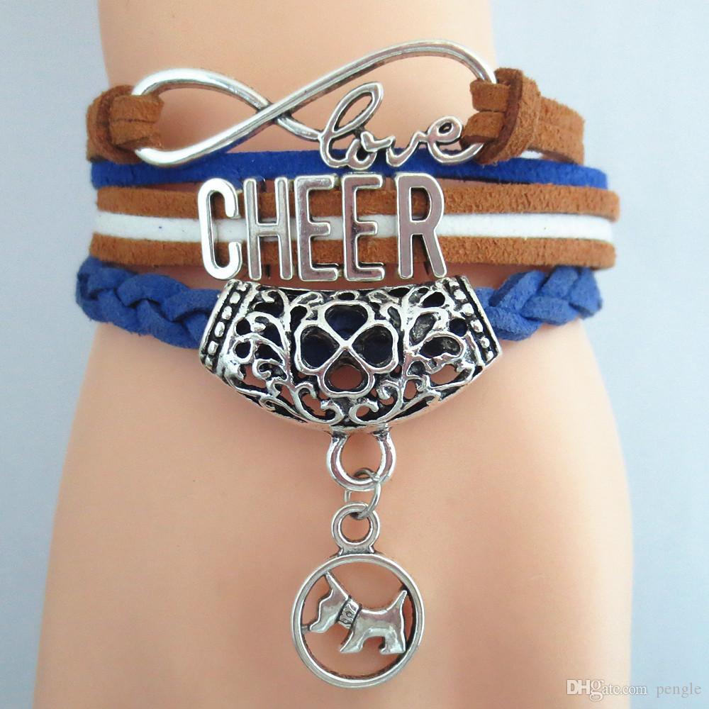 Hot Sale Fashion Infinity Bracelets Wish Love Cheer Charm Bracelets Wrap Bracelets Leather For Women 50pcs