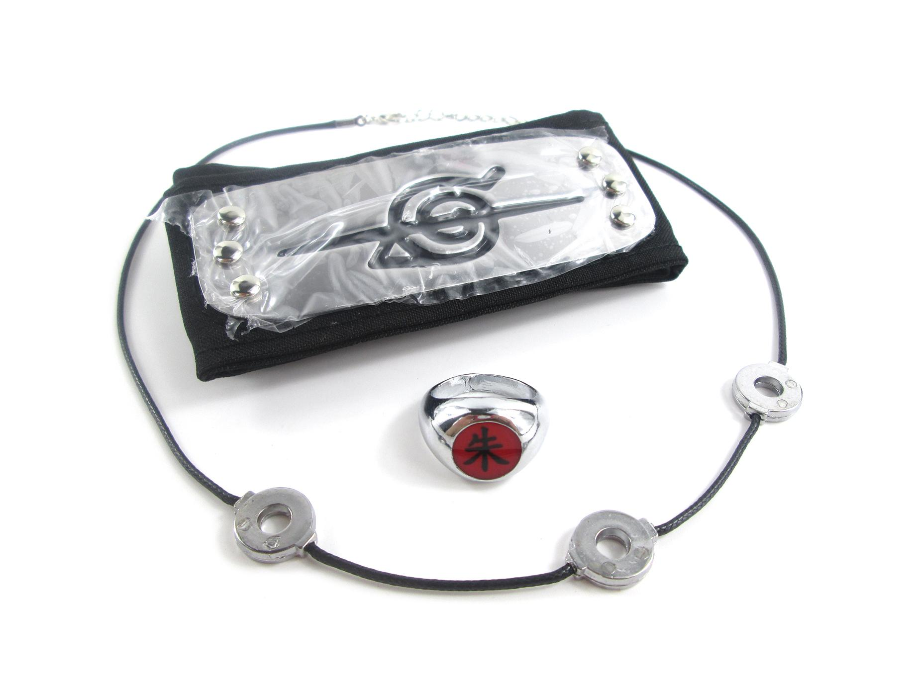 Free Shipping Naruto Ninja Uchiha Itachi Akatsuki Headband+Necklace+Ring for cosplay party or halloween