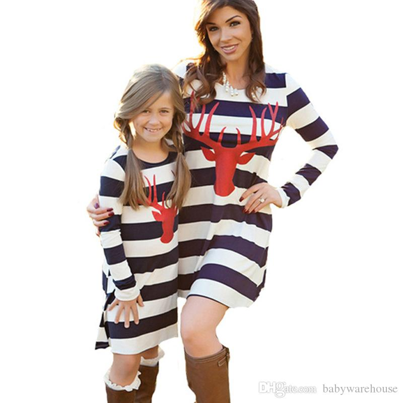 Mother And Daughter Clothes Christmas Deer Pattern Matching Family Clothing Antlers Sleeve Striped Mother And Daughter Dresses Mommy And Me