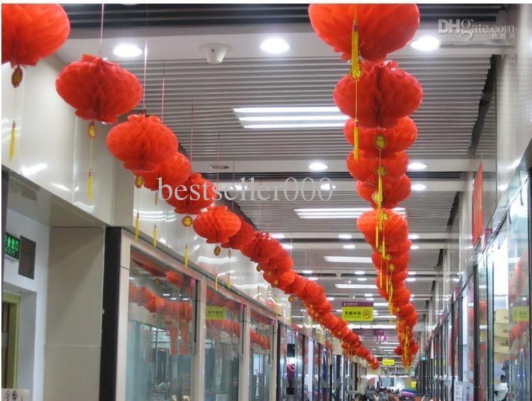 """6 """"(15 سنتيمتر) الأحمر الصينية ورقة الفوانيس الزفاف مهرجان حفلة عيد الزهور الديكور المنزل الشحن مجانا"""