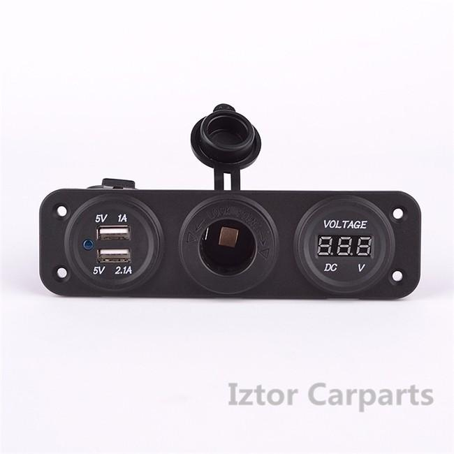 Car DC 12V-24V Digital Voltmeter Dual USB 2 Port Power Socket Three Hole Panel Car USB charger