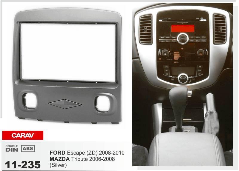 CARAV 11-235 Top Quality Radio Fascia for MAZDA Tribute/FORD Escape (ZD) (Silver) Stereo Fascia Dash CD Trim Installation Kit
