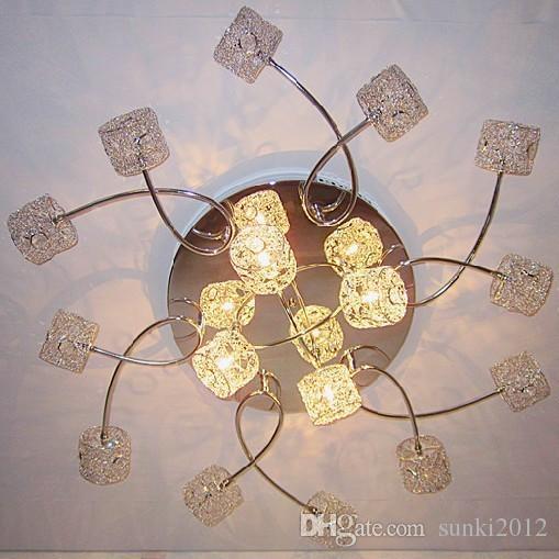Luxus 16 Leuchten Modern Befestigungs Beleuchtung Aluminiumdraht Kristall Columna LED Deckenleuchten Lampe Fr