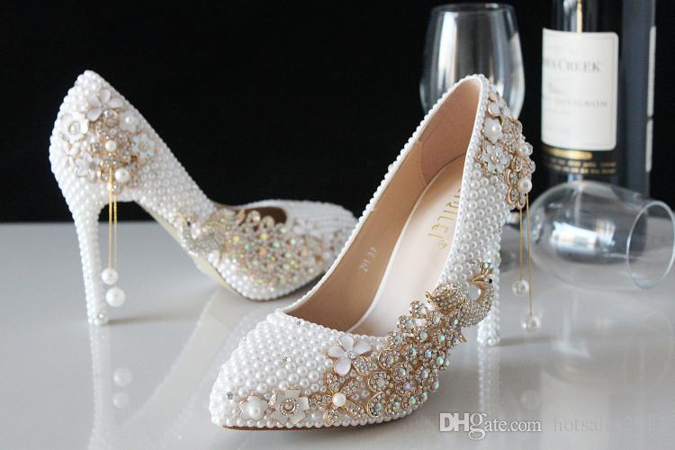 Seçkin lüks inci köpüklü cam terlik gelinlik ayakkabı düğün ayakkabı yüksek topuklu elbise ayakkabı kadın düğün ayakkabı bayan parti proms