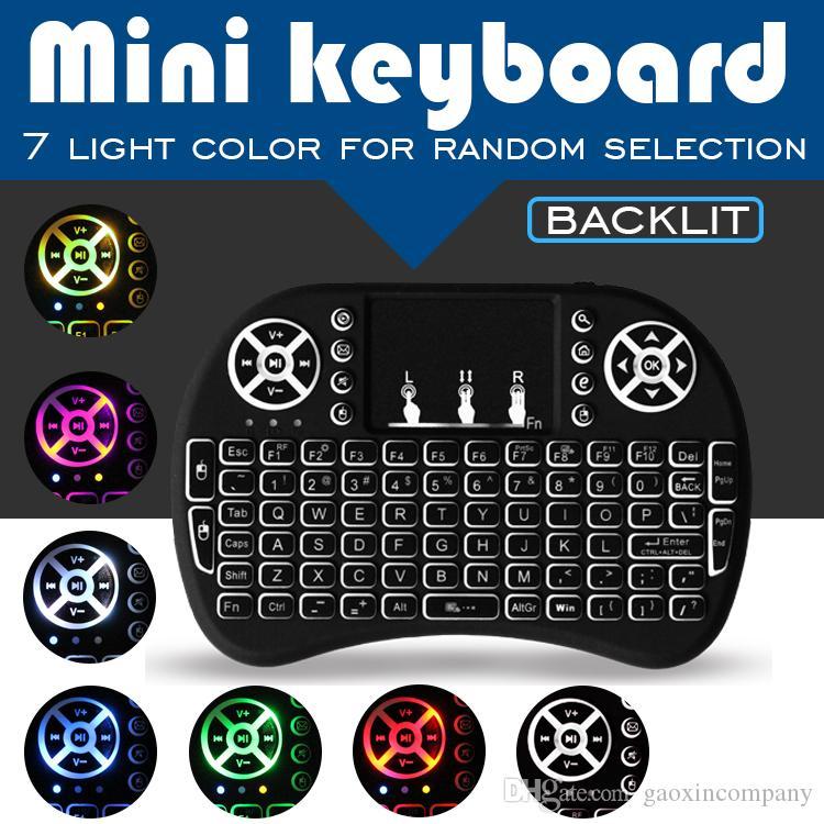 7 색 백라이트 게이밍 키보드 RII I8 미니 무선 마우스 2.4 핸드 헬드 터치 패드 충전 배터리 플라이 에어 마우스 원격 제어