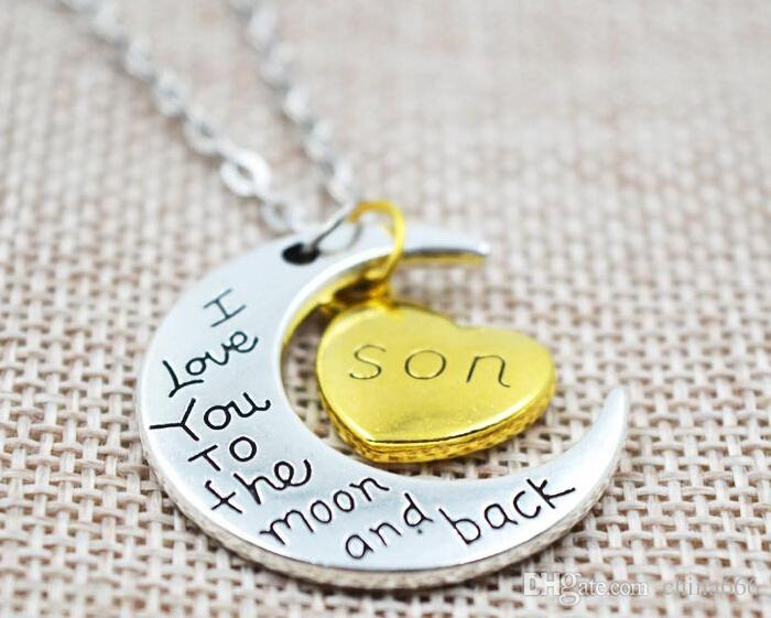 FREE SHIPPING 2015 New Two Piece I Love You To The Moon And Back Silver Gold Color Necklace Pendant Valentine Day Gift Chain Chains