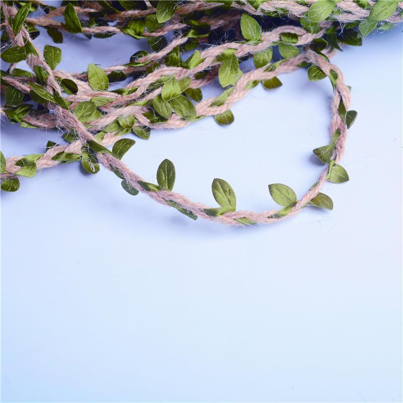 Hot Sale Mori series hemp rope 10m simulation green leaf mixed hemp rope decoration bouquet packaging ribbon hand diy material