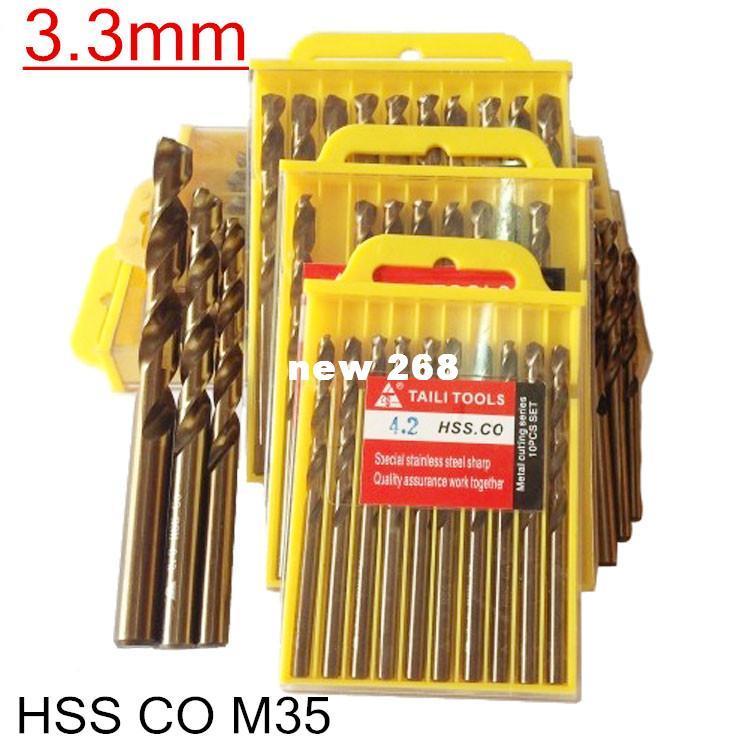 3.3mm 50pcs / let HSS CO M35 포함 코발트 트위스트 드릴 가공 스테인리스 드릴 비트 가공 무료 배송