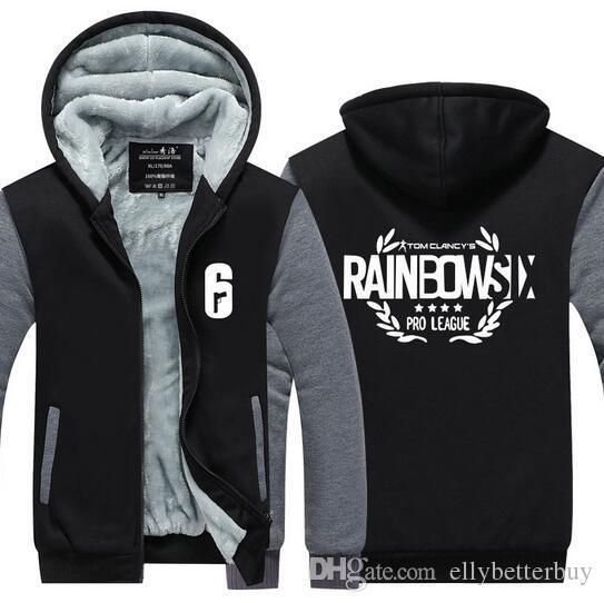Yeni Tom Clancy Rainbow Six Kuşatma Kaşmir Hoodie Erkek Casual Oyun Fermuar Palto Kalın Kış Süper Isınma Pamuk Tişörtü Ceket Coat
