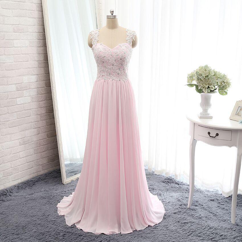 Custom V-neck Long Lace Sleeveless Bridesmaid Dress 2020 Soft Chiffon Backless Formal Prom Evening Party Dresses