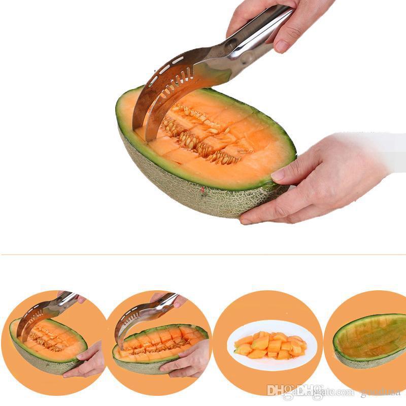 Yeni paslanmaz çelik karpuz dilimleme kesici mutfak aletleri gadget'lar Kavun kesici bıçak meyve segmentasyon Karpuz ...