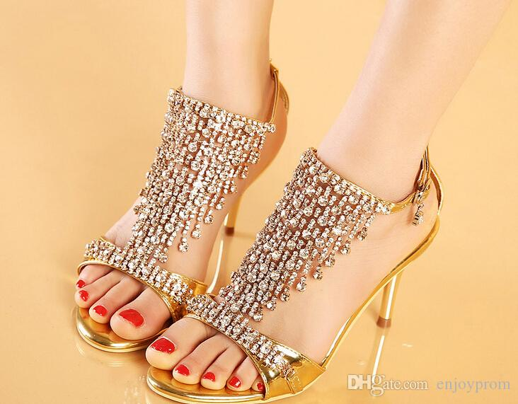 In Stock Gold/Silver Sparkling High Heels Crystals Prom Evening ...
