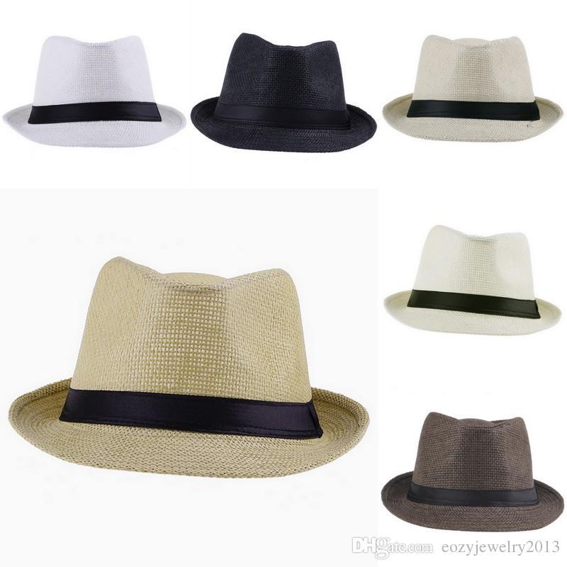 Mode Unisex-Geflecht Stroh Fedora Hüte Sommerstrand Panama Caps-Farben Wählen Sie ZDS * 10