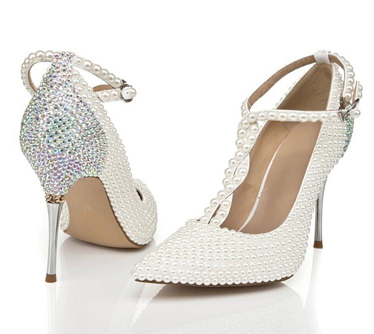 ラインストーンとT-Strap Ivoryの結婚式の靴が付いている尖ったつま先のスティレットヒールナイトクラブクラブシューズ結婚式パーティープロムポンプ