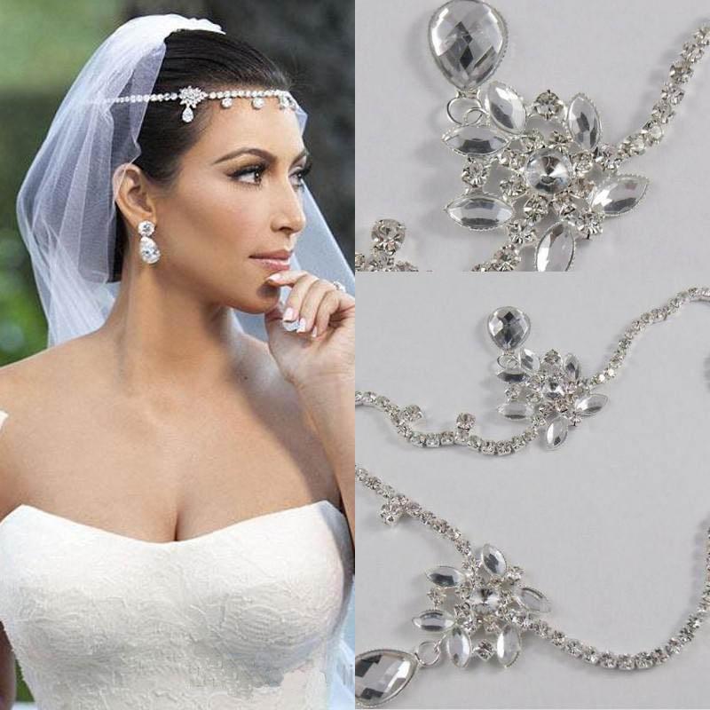 Kim Kardashian immagine reale strass diademi accessori da sposa splendente accessori per capelli di lusso squisiti affascinanti spettacolo di lusso