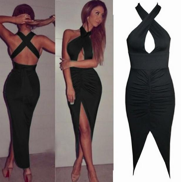 0caa58208d7 New Black Sleeveless Sexy Club Dresses for women Night Out & Club bandage  Strap Criss-cross high slit maxi dress Evening Party Prom Wear