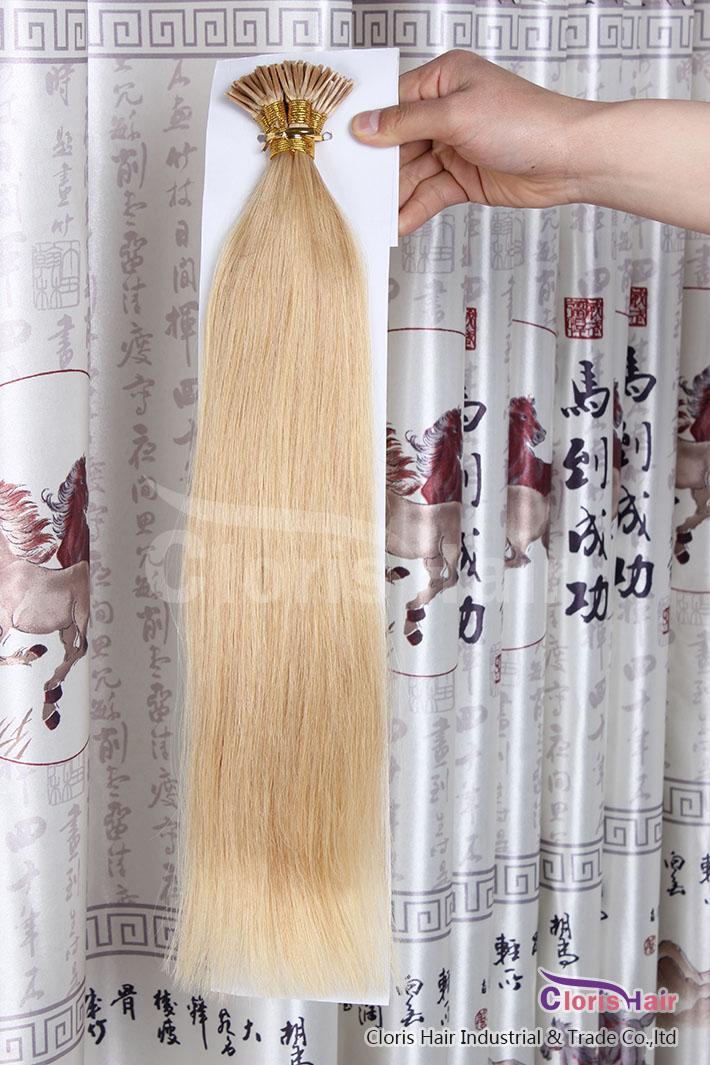 Великолепные длины 100 прядей # 24 Натуральные блондинки Двухкомнатная шелковистая прямая слияние Кератина Предопределенная палочка I наконечника Remy Extensions человеческих волос 50 г