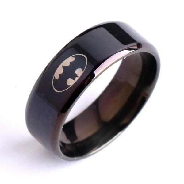 Anelli in acciaio inossidabile Fresco Anello nero in acciaio 316L lucido con anelli in acciaio al titanio per uomo, gioielli moda maschile, taglia 7-12 per l'anello uomo Batman