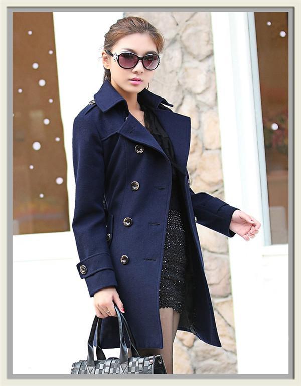 Ideal Best Quality 4067 Women'S Ol Double Breasted Warm Slim Jacket Wool  LF05