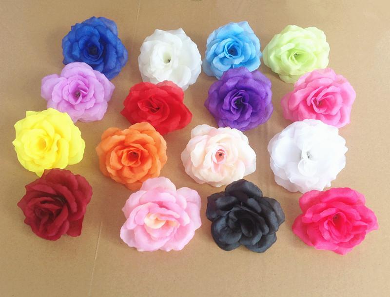 """1000 stks 8 cm / 3.15 """"Kunstmatige zijde Camellia Rose Peony Bloemhoofden voor Bruiloft Kerstfeest 16 Kleuren DIY Jewlery Broche Headwear"""