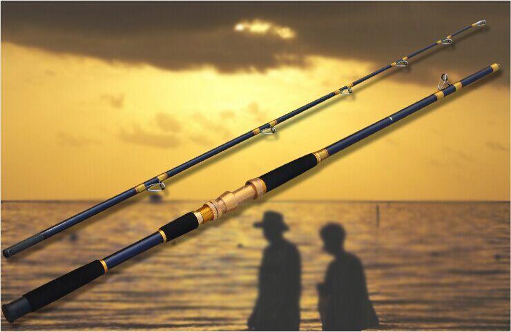 2,4m Carbon Jigging Boat Fiske Rod Trolling Fiske Rod med Metal Reel Sit Fishing Tackle Tools