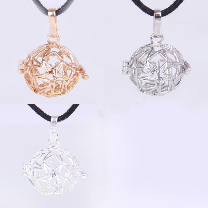 2015 Harmony Ball Bola Pendants Necklace 3 Colors Brass Metal Cage Five Star Box Necklaces Gift Wholesale