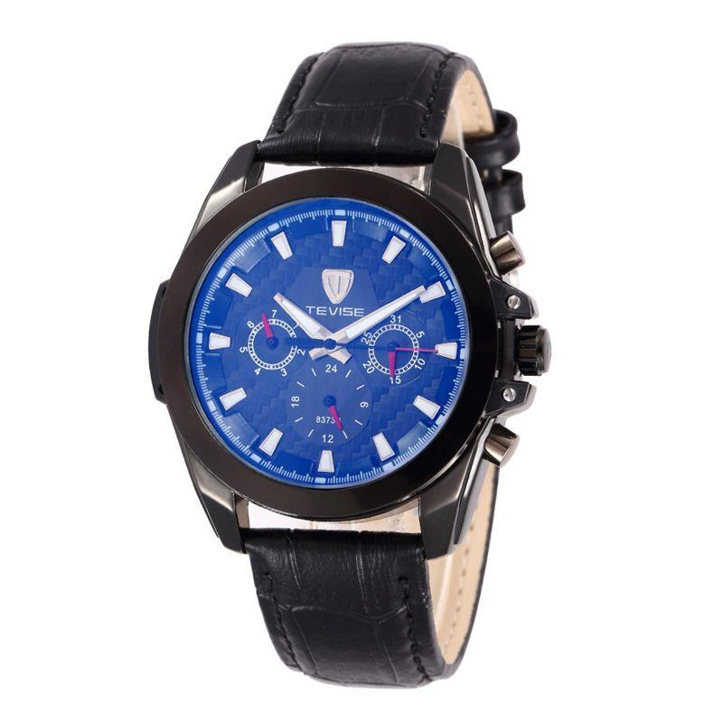 TEVISE кожа механические часы мужские украшения часы черный ремешок TV54
