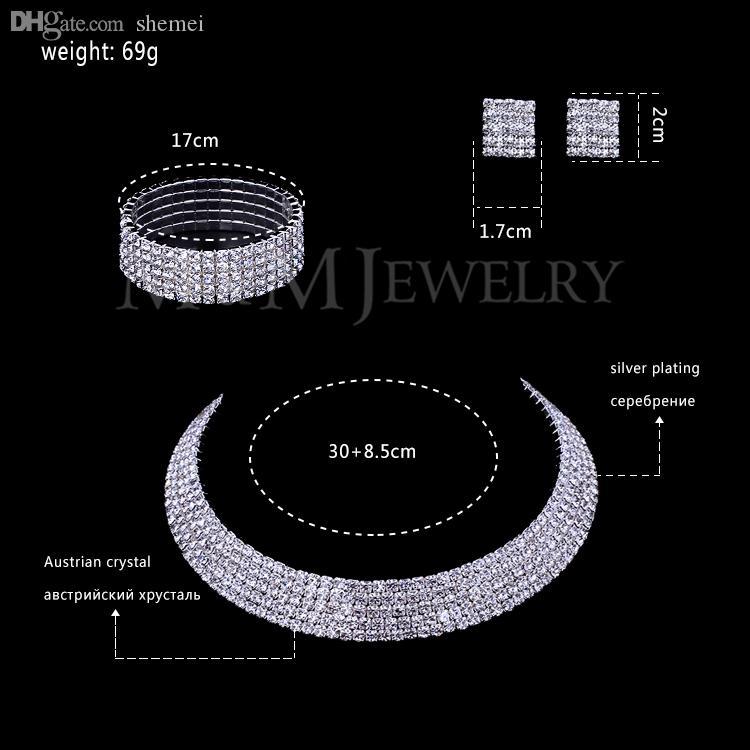 Groothandel-clear Oostenrijkse kristal verzilverd sieraden sets ronde ketting oorbellen armband voor vrouwen bruiloft accessoire TL294 + SL090