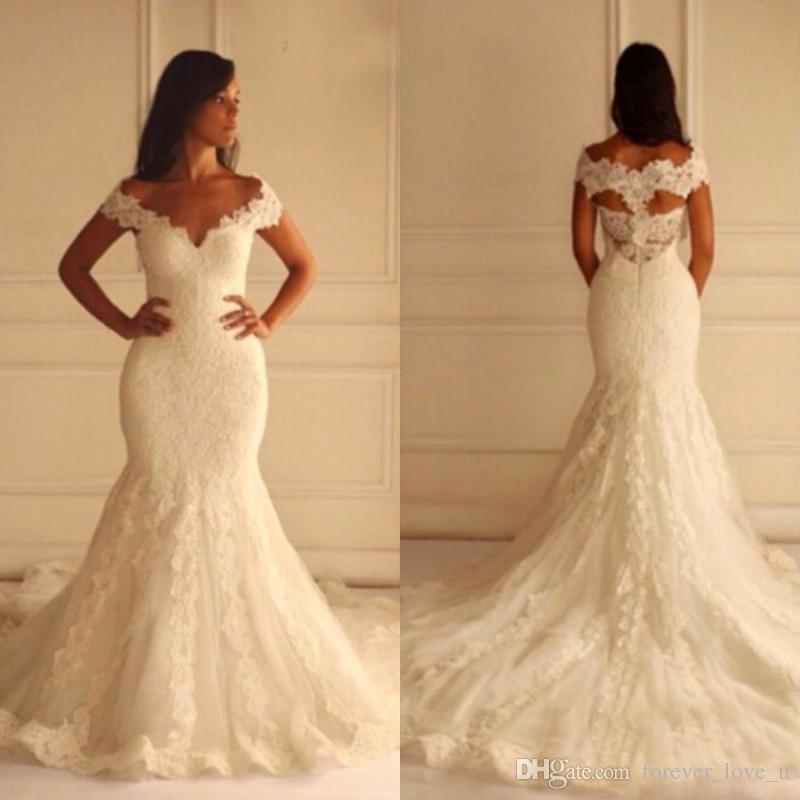 Venda quente sereia vestidos de casamento vintage apliques vestidos de noiva v pescoço fora do ombro cavidade costas feita noivas vestuário