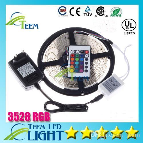 Dhl rgb 3528 rgb cw ww verde 5 m 300 iluminação led tira de luz à prova d 'água 24 teclas de controle remoto ir + 12 v 2a fonte de alimentação