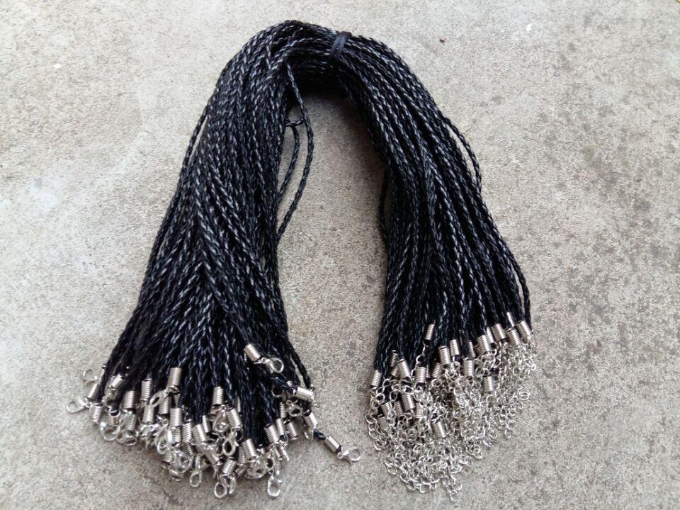 3 milímetros de couro preto pu 18 '' Braid Colar dos cabos com fecho da lagosta Para DIY Jóias Neckalce Pendant Artesanato Jóias