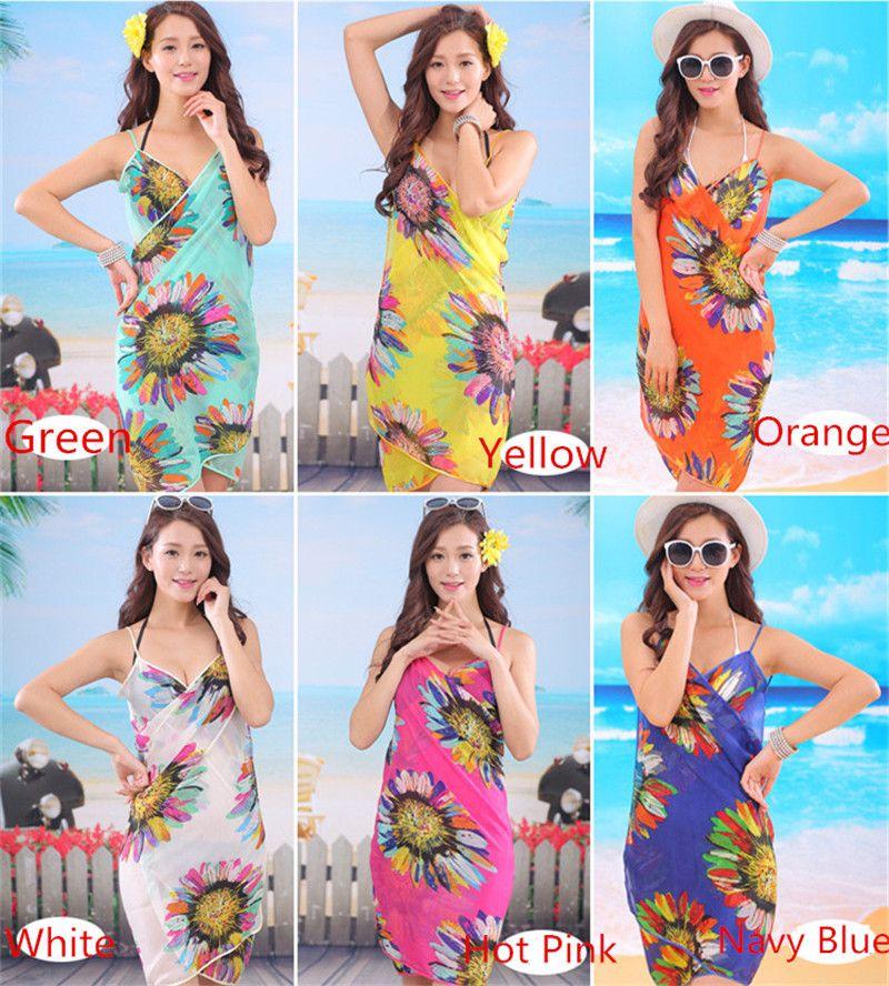 Summer Women Sexy Swimwear Open-Back Wrap Front Cover Up Sunscreen Beach Towels Chiffon Shwal Sunflower Saia Bikini