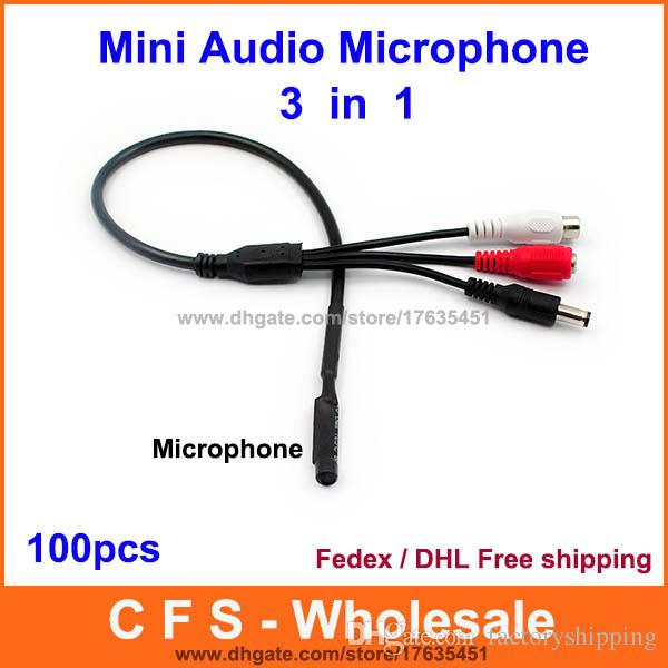 100pcs Audio pick up CCTV Microphone Wide Range Camera Mic Audio Mini Microphone with DC Output for CCTV Security free shipping