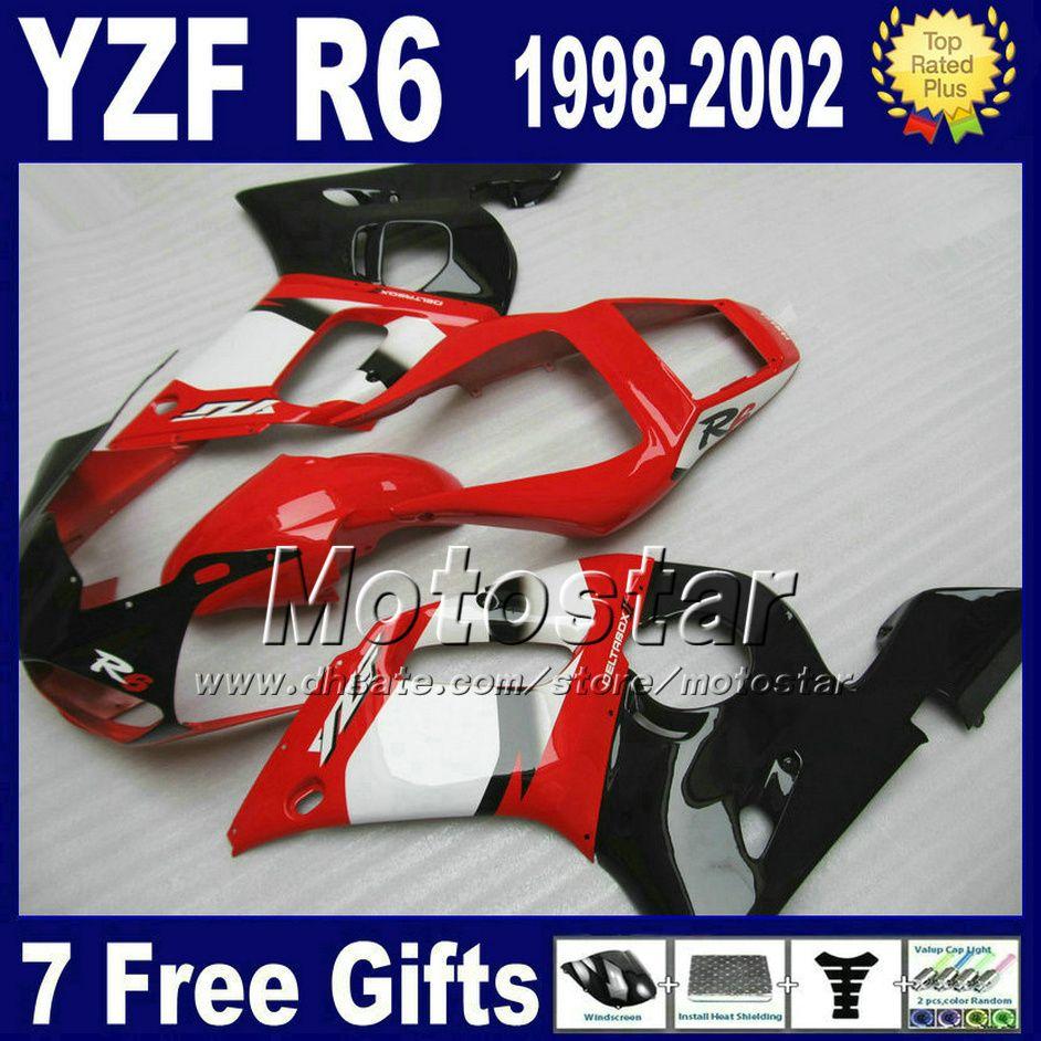 무료 배송 Yamaha Yzf-R6 1998-2002 YZF 600 YZFR6 98 99 00 01 02 레드 화이트 블랙 페어링 바디 키트 VB89
