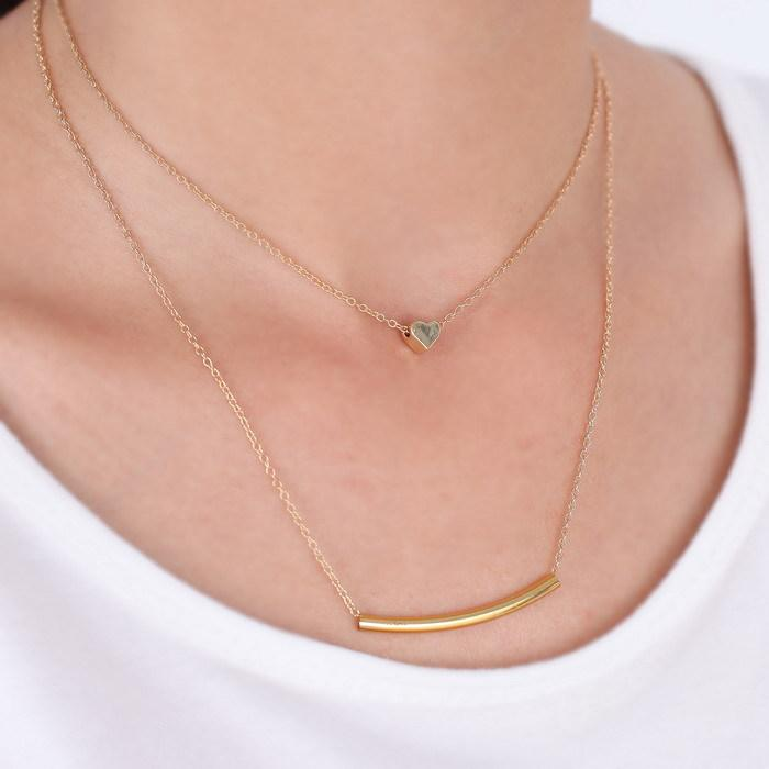 New fashion small accessories heart bar necklace short design two ...