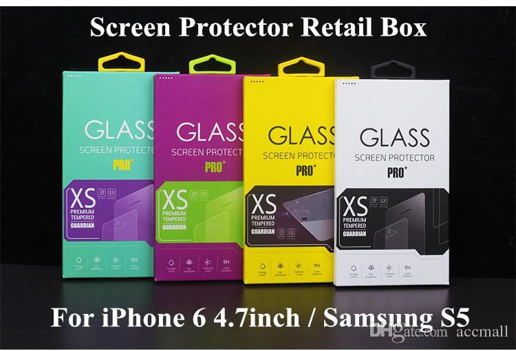 Universal Luxury Tempered Glass Screen Protector Film Protective Guard Retail Package Box Förpackning Boxar för mobiltelefon Tillbehör 1000pcs