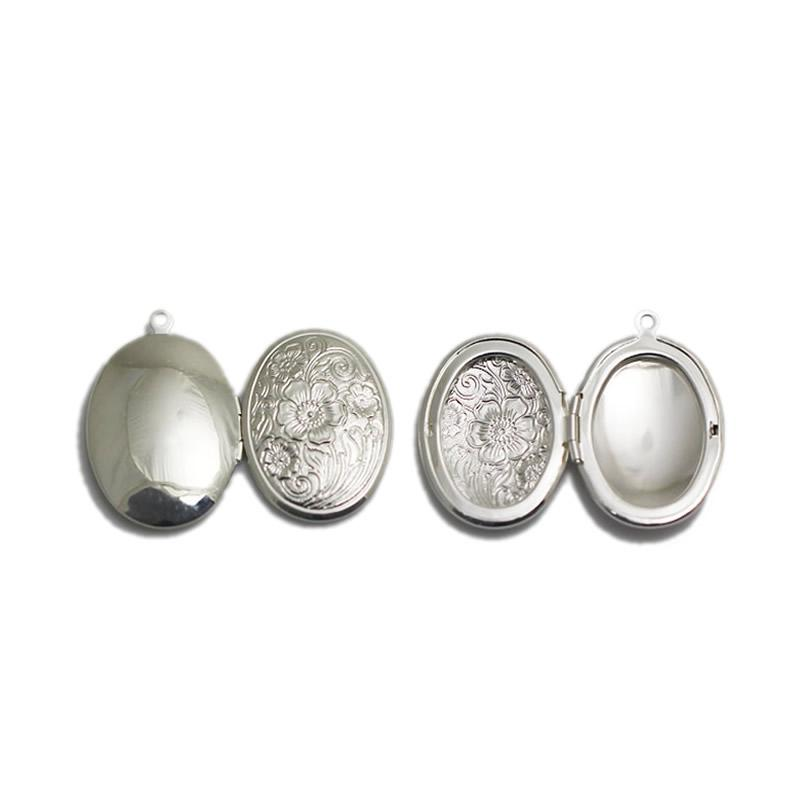 Beadsnice flower locket blank photo locket charm brass oval vintage locket necklace gift findings supplies free shipping ID 3361