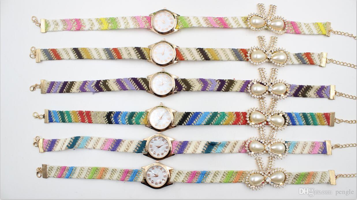 Hot Sale New Fashion Luxury Pearl Watches Bracelet Quartz For Women Dress Watches