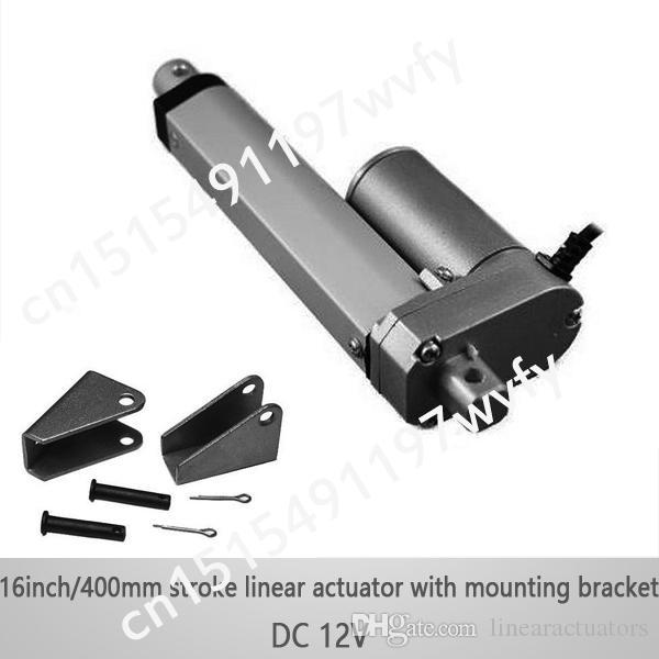 12В 16 дюймов/400 мм 1 компл. микро линейный привод с монтажными кронштейнами, 1000Н/нагрузить 100kgs 10мм/с скорость линейный привод водонепроницаемый
