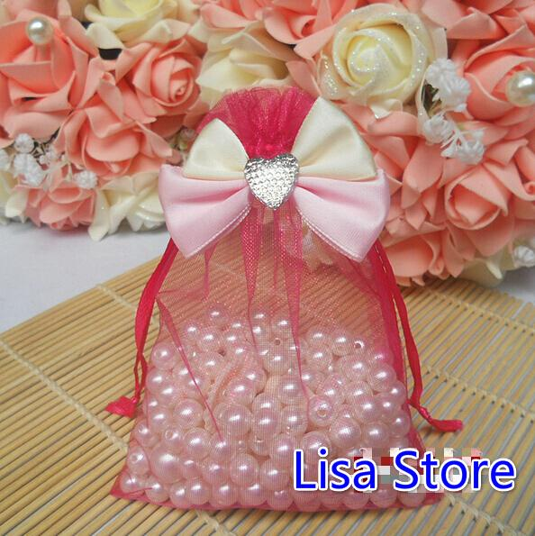 FreeShip 100pcs Various Sizes Heart Organza Bags Bowknot Butterfly Business Promotional Packaging Bag Sachet Candy Beads Christmas Gift Bags