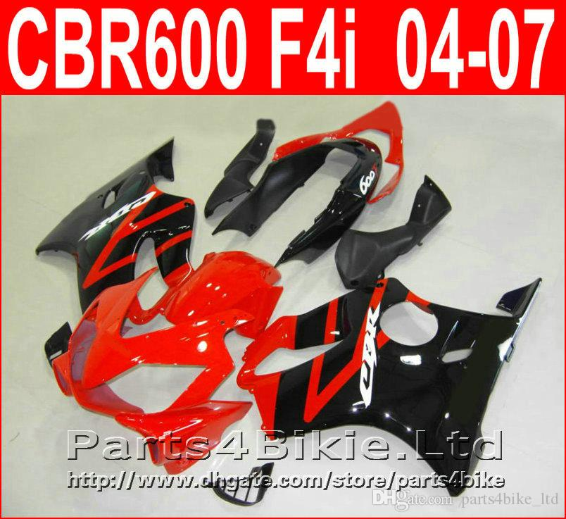 BUONA parti del corpo nero lucido rosso per carena Honda CBR600 F4i carene 2004-2007 CBR 600 F4i 04 05 06 07 DOVR